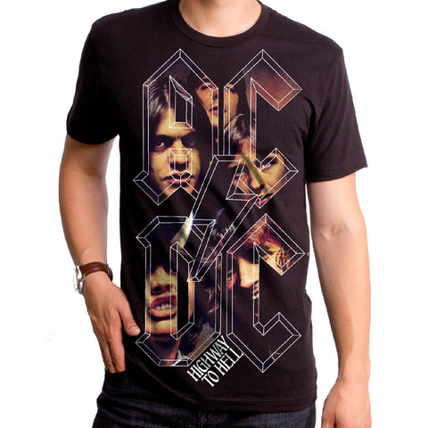 AC/DC Higway To Hell Stacked Mens S/S Black T-Shirt