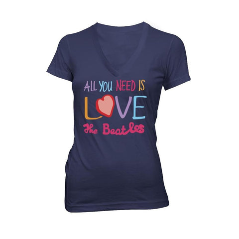 Beatles All You Need Is Love Women's V-Neck T-Shirt