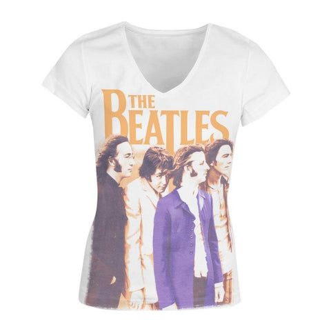 Beatles Band Junior's V-Neck Sublimated Women's T-Shirt