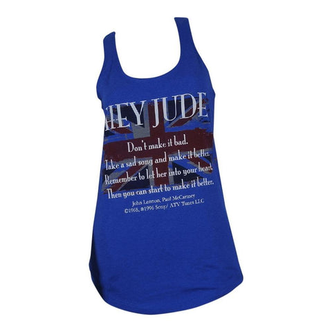 Beatles Lennon/McCartney Union Jack Hey Jude Lyrics Women's Racerback Tank T-Shirt