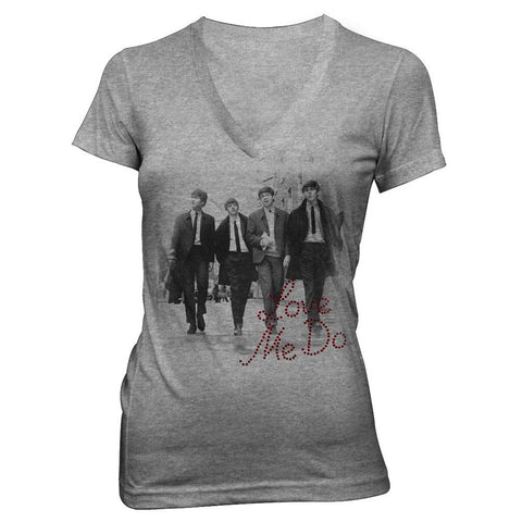 Beatles Love Me Do Rhinestones Women's V-Neck T-Shirt