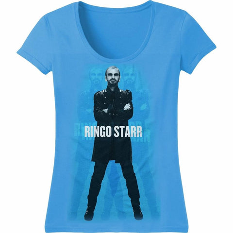 Beatles Ringo Starr Ringo Standing Blue Women's T-Shirt