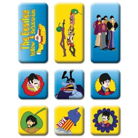 Beatles Yellow Submarine 9 Piece Fridge Magnet Set