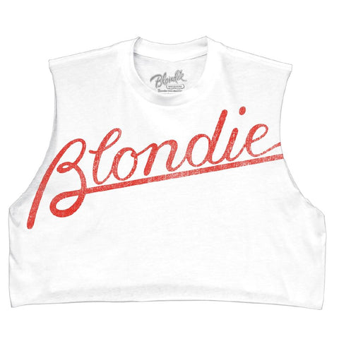Blondie Tilted Logo Juniors DIY Tank White T-Shirt