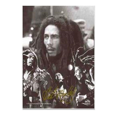 Bob Marley Black And White Collage Fabric Poster