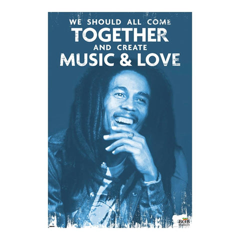 Bob Marley Create Music & Love Poster
