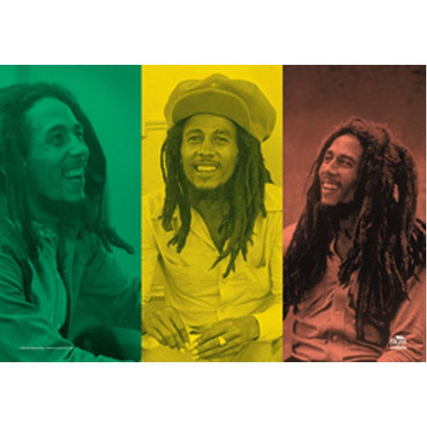 Bob Marley Rasta Colors Tripple Image Fabric Poster