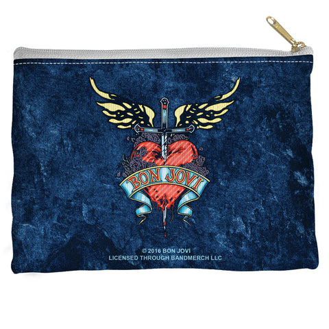 Bon Jovi Special Order Weathered Denim Accessory Pouch - 100% Spun Polyester with straight bottom