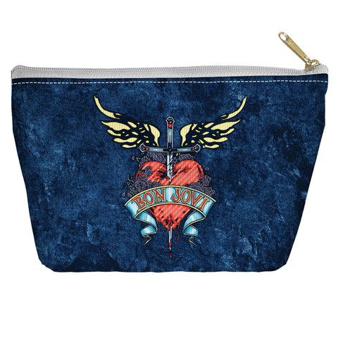Bon Jovi Special Order Weathered Denim Accessory Pouch - 100% Spun Polyester with tapered bottom