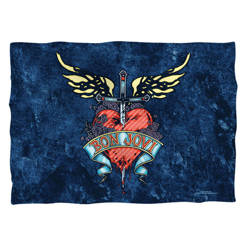 Bon Jovi Special Order Weathered Denim (Front/Back Print) 100% Polyester Pillow Case (Pillow Not Included)