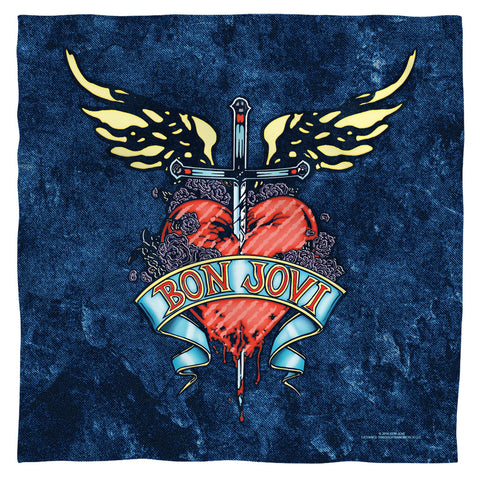Bon Jovi Special Order Weathered Denim 100% Polyester Bandana - 21 x 21 inches - 1-Sided