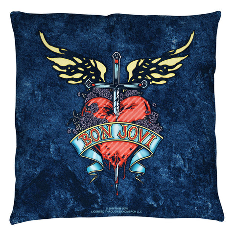 Bon Jovi Special Order Weathered Denim Throw Pillow - Spun Polyester Light Weight Cotton - Canvas Look and Feel - Blown and Closed - 2-sided