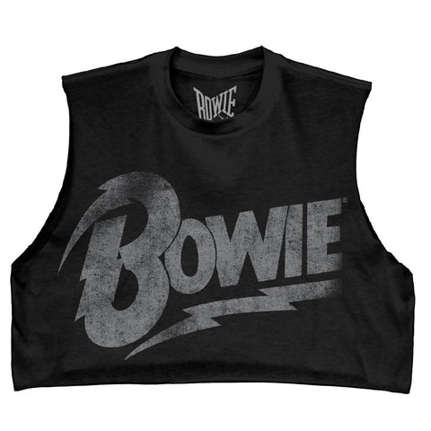 Bowie Distressed Logo Juniors DIY Black Crop Top T-Shirt