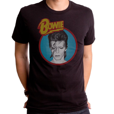 Bowie Dull Aladdin Blue Men's Black Short-Sleeve T-Shirt