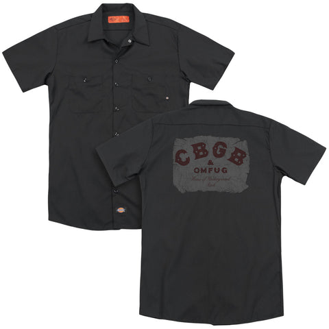 CBGB Special Order Crumbled Logo(Back Print) Men's 35% Cotton 65% Poly Short-Sleeve Work Shirt