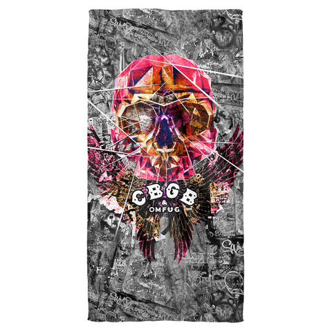 CBGB Special Order Flying Skull Cotton Front Poly Back Beach Towel