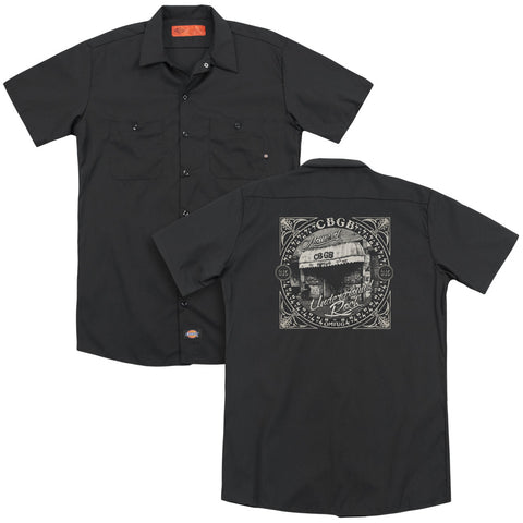 CBGB Special Order Front Door(Back Print) Men's 35% Cotton 65% Poly Short-Sleeve Work Shirt