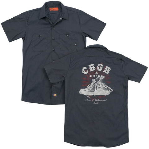 CBGB Special Order High Tops(Back Print) Men's 35% Cotton 65% Poly Short-Sleeve Work Shirt