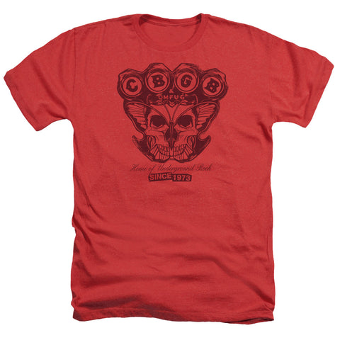 CBGB Special Order Moth Skull Men's 30/1 Heather 60% Cotton 40% Poly Short-Sleeve T-Shirt
