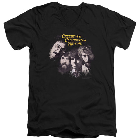 Creedence Clearwater Revival Pendulum Faces Men's 30/1 Cotton Slim V-Neck T