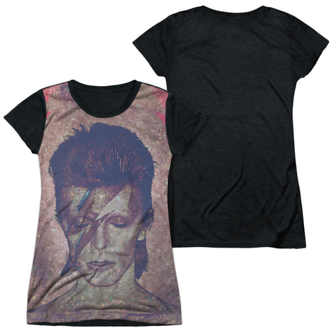 David Bowie Special Order Glam Junior's Black Back 100% Polyester Cap-Sleeve T-Shirt