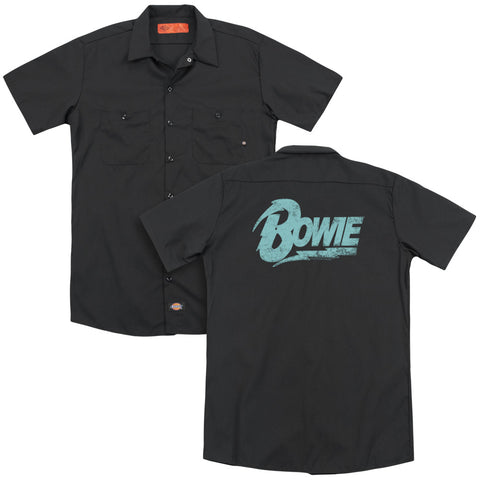 David Bowie Special Order Logo (Back Print) Men's 35% Cotton 65% Poly Short-Sleeve Work Shirt