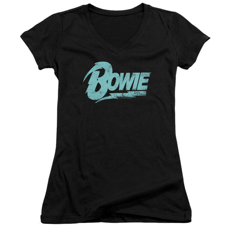 David Bowie Special Order Logo Junior's 30/1 100% Cotton Cap-Sleeve Sheer V-Neck T-Shirt