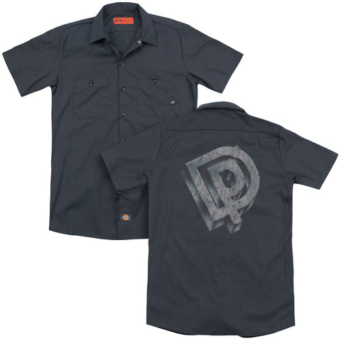 Deep Purple Special Order Dp Logo (Back Print) Men's 35% Cotton 65% Poly Short-Sleeve Work Shirt