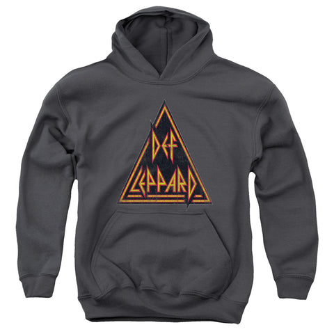 Def Leppard Special Order Distressed Logo Youth 50% Cotton 50% Poly Pull-Over Hoodie