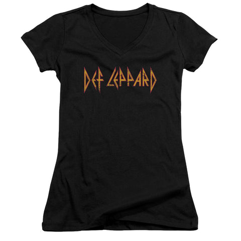 Def Leppard Special Order Horizontal Logo Junior's 30/1 100% Cotton Cap-Sleeve Sheer V-Neck T-Shirt