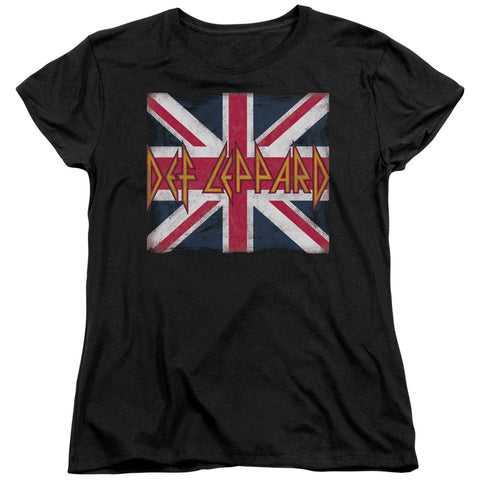Def Leppard Special Order Union Jack Women's 18/1 100% Cotton Short-Sleeve T-Shirt