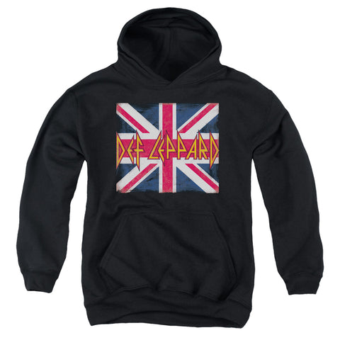 Def Leppard Special Order Union Jack Youth 50% Cotton 50% Poly Pull-Over Hoodie
