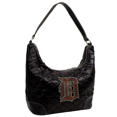 Detroit Tigers Sport Noir Quilted Hobo Handbag