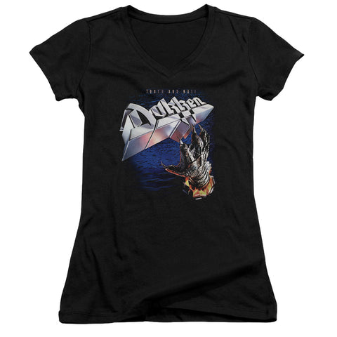 Dokken Special Order Tooth And Nail Junior's 30/1 100% Cotton Cap-Sleeve Sheer V-Neck T-Shirt