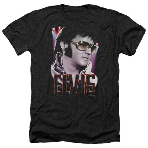 Elvis Presley Special Order 70's Star Men's 30/1 Heather 60% Cotton 40% Poly Short-Sleeve T-Shirt