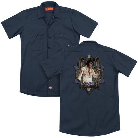 Elvis Presley Special Order Aloha From Hawaii (Back Print) Men's 35% Cotton 65% Poly Short-Sleeve Work Shirt