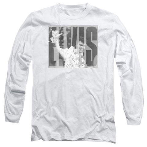 Elvis Presley Special Order Aloha Gray Men's 18/1 Long Sleeve 100% Cotton T-Shirt