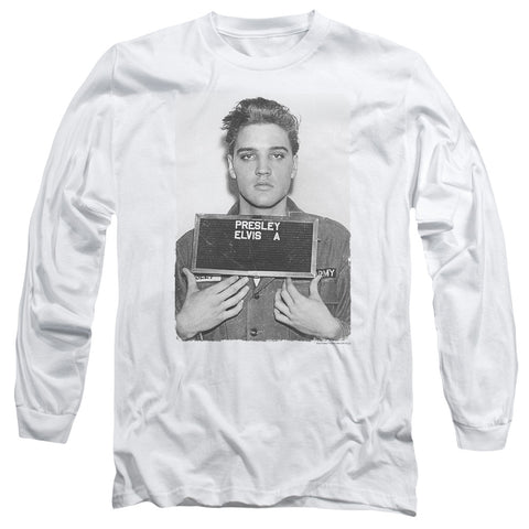 Elvis Presley Special Order Army Mug Shot Men's 18/1 Long Sleeve 100% Cotton T-Shirt