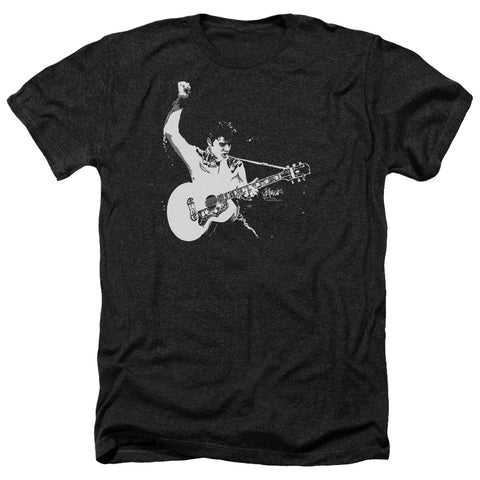 Elvis Presley Special Order Black&White Guitarman Men's 30/1 Heather 60% Cotton 40% Poly Short-Sleeve T-Shirt