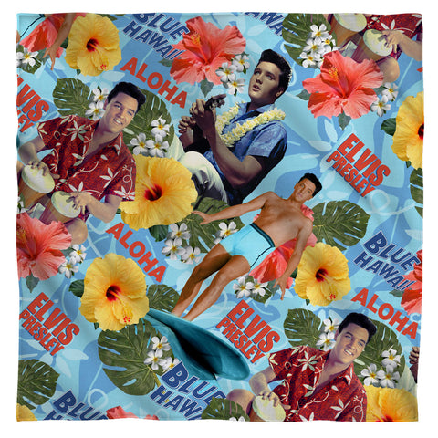 Elvis Presley Special Order Blue Hawaii 100% Polyester Bandana - 21 x 21 inches - 1-Sided
