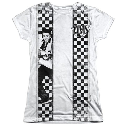 Elvis Presley Special Order Checkered Bowling Shirt Junior's 100% Polyester Cap-Sleeve T-Shirt