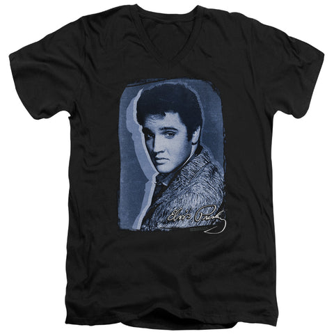 Elvis Presley Special Order Overlay Men's 30/1 100% Cotton Slim Fit V-Neck T-Shirt