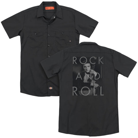Elvis Presley Special Order Rock And Roll(Back Print) Men's 35% Cotton 65% Poly Short-Sleeve Work Shirt