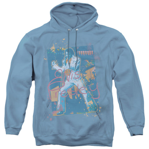 Elvis Presley Splatter Hawaii Carolina Blue Men's Pull-Over 75 25 Poly Hoodie