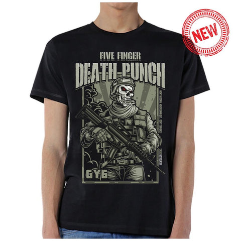Five Finger Death Punch War Soldier Revised V2 Men's Black T-Shirt