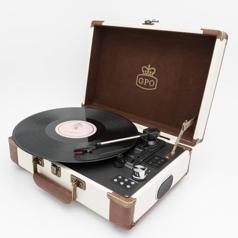 GPO SW196FCR Ambassador Portable USB Bluetooth Turntable Cream/Tan