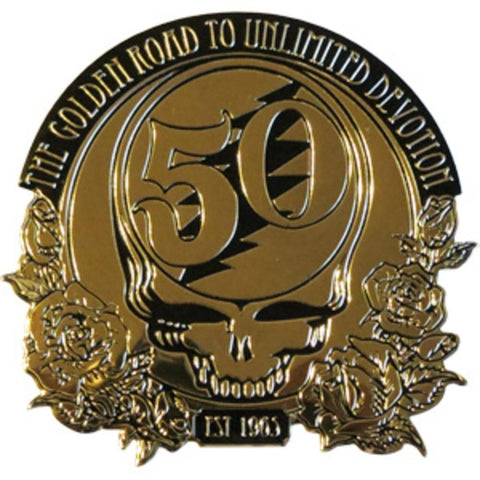 Grateful Dead 50th Anniversary Gold Metal Sticker