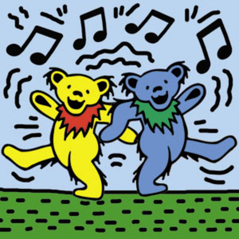 Grateful Dead Bears On Blue Square Magnet