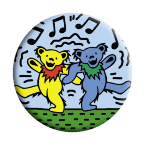 Grateful Dead Bears On Blue Button