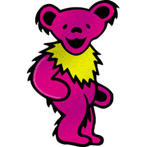 Grateful dead pink glitter bear sticker